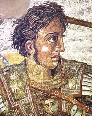 Mosaic representing Alexander the Great in war gear.