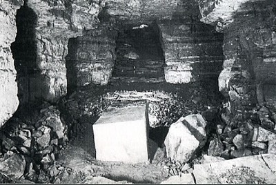 A glimpse of the burial chamber reveals its unfinished state. The white, rectangular block almost in the centre is Sekhemkhet's sarcophagus.
