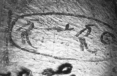 Graffito showing the name of Kheops, left behind by a team of builders in one of the relief chambers.