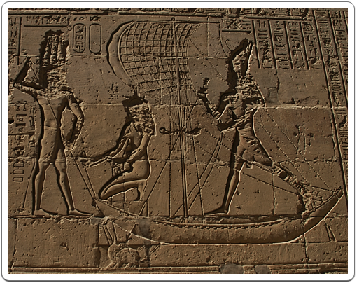 A Ptolemaic king, stabs a hippopotamus, one of the manifestations of Seth, to death before Horus, in the temple of Horus at Edfu.