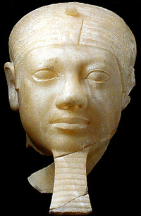 Front view of Mykerinos' Alabaster head.