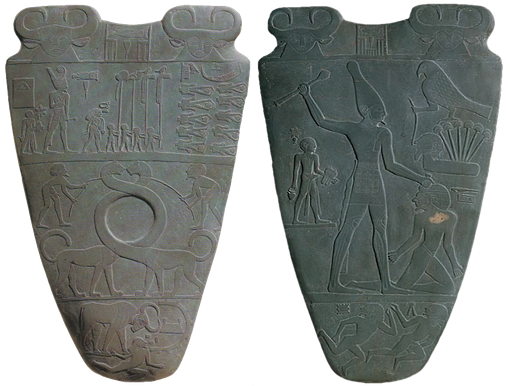 Both sides of the Narmer Palette are decorated with ritual or historical scenes.
