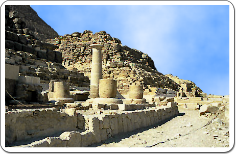 The Late Dynastic Isis temple built to the East of the pyramid of a queen named Henutsen.
