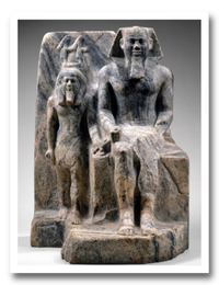 Group statue of Sahure with a provincial god.