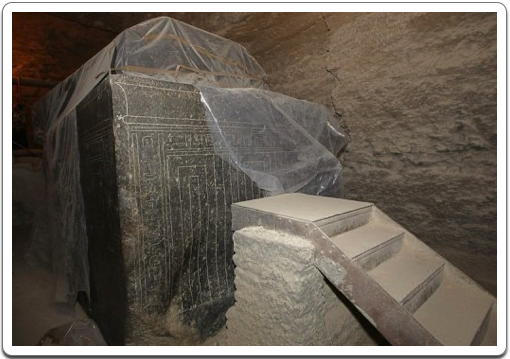 Massive sarcophagus of a deceased sacred Apis bull in the Serapeum at Saqqara.