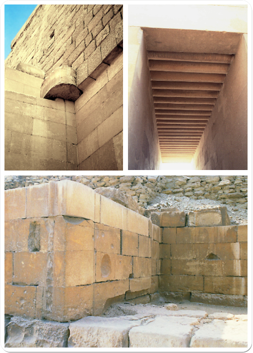Renderings into stone of parts of buildings that were originally built in wood and mud brick.