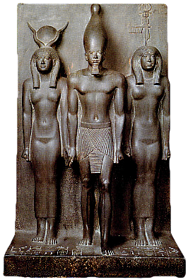 Hathor, Mykerinos and the goddess of the province of Diospolis.